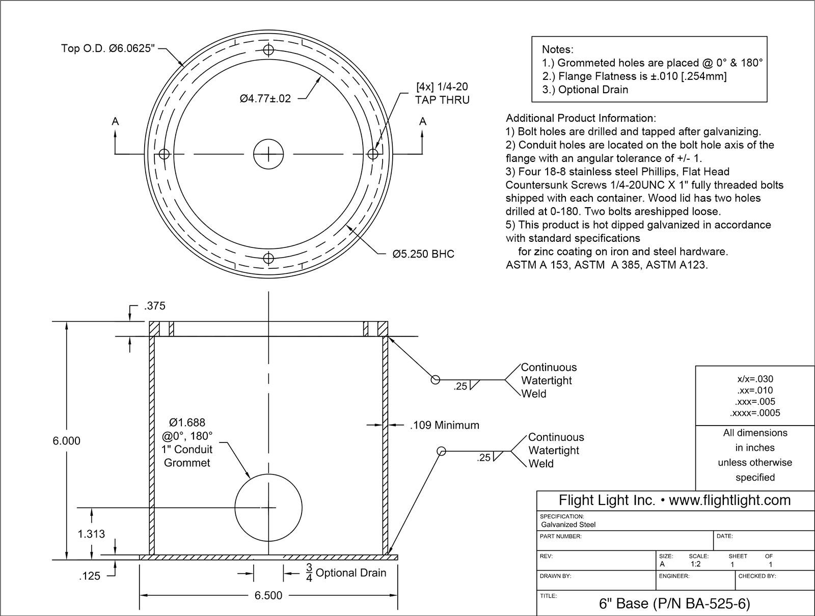 """6"""" Deep Base Can (P/N BA-525-6) drawing"""