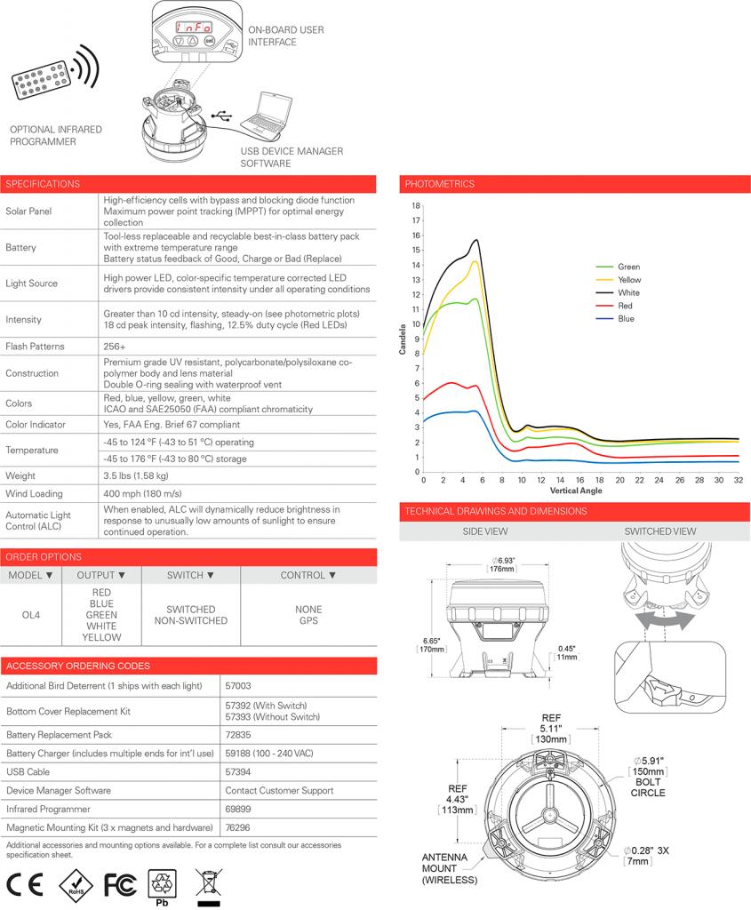 OL4 Solar Warning Light specifications