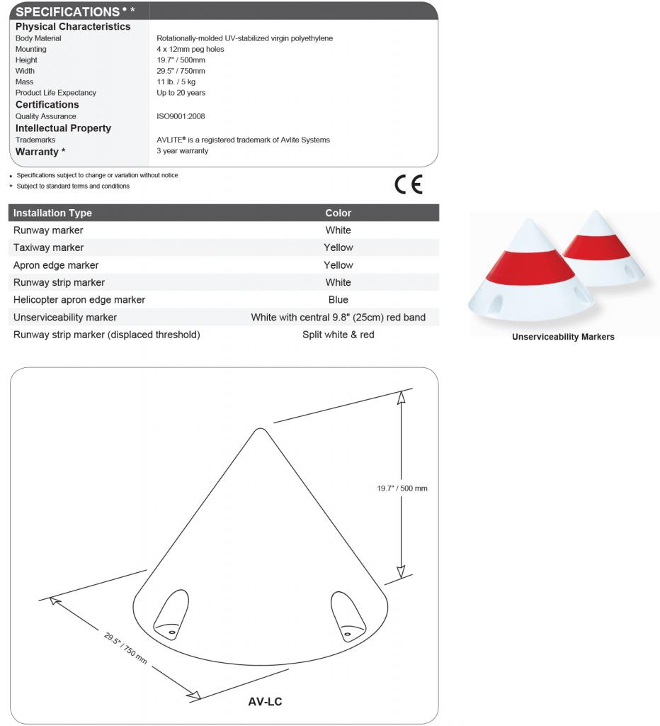 AV-LC Airfield Cone Marker specifications