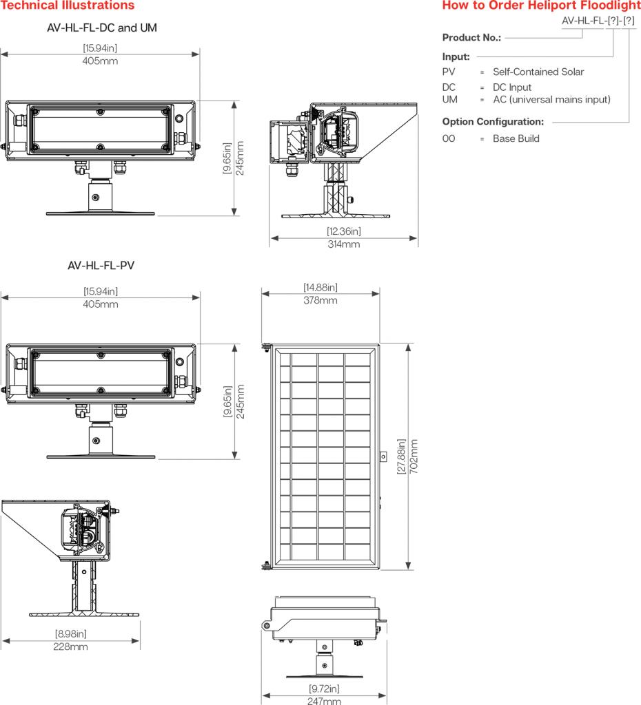 AV-HL-FL Solar Helipad Floodlight specifications