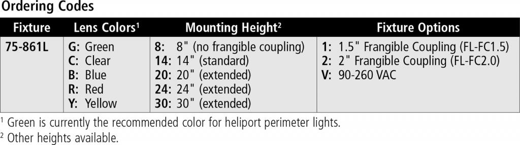 75-861L-LED Heliport Perimeter Light ordering codes