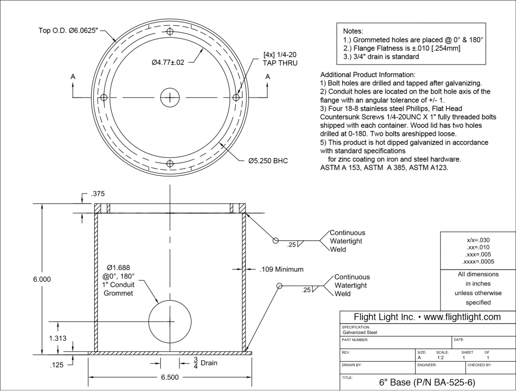 6 Inch Deep Base Can BA-525-6 drawing